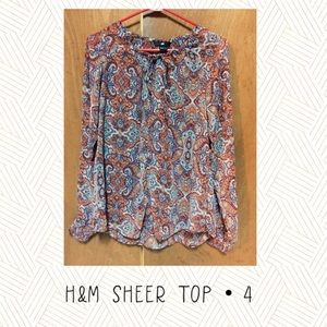 H&M Long Sleeve paisley sheer top women's size 4